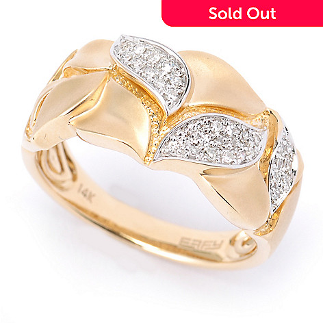 134-948 - EFFY 14K Gold 0.14ctw Diamond Satin Finished Leaf Band Ring
