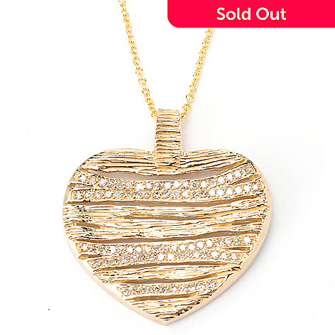 134-949 - EFFY 14K Gold 0.30ctw Diamond Textured Heart Pendant w/ Chain
