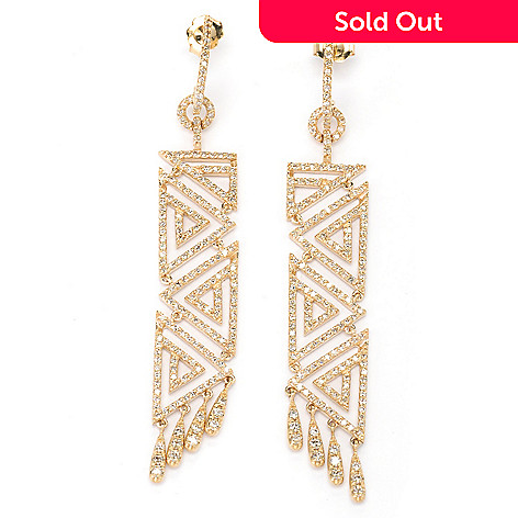 134-950 - EFFY 14K Gold 3'' 1.66ctw Diamond Geometric Drop Earrings