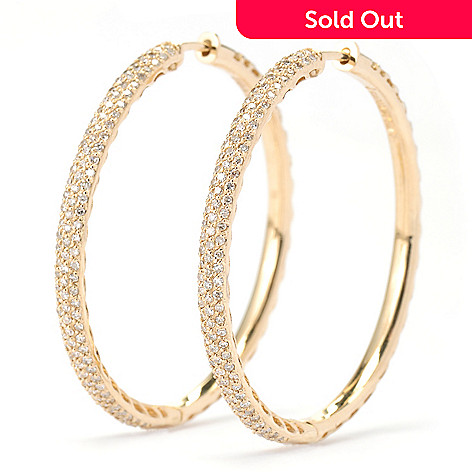 134-951 - EFFY 14K Gold 1.5'' 0.65ctw Diamond Hoop Earrings
