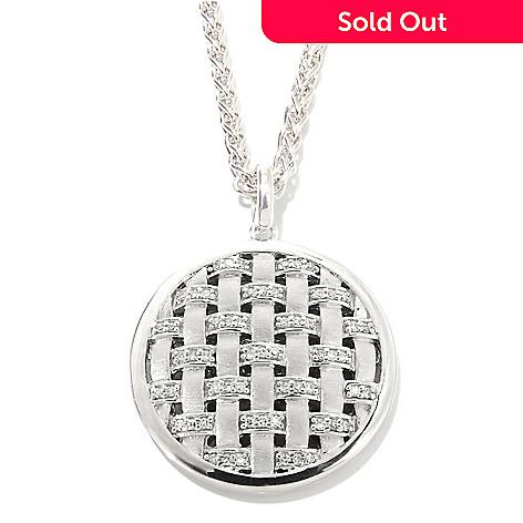 134-980 - Effy Sterling Silver 0.23ctw Diamond Basket Weave Balissima Pendant w/ Chain