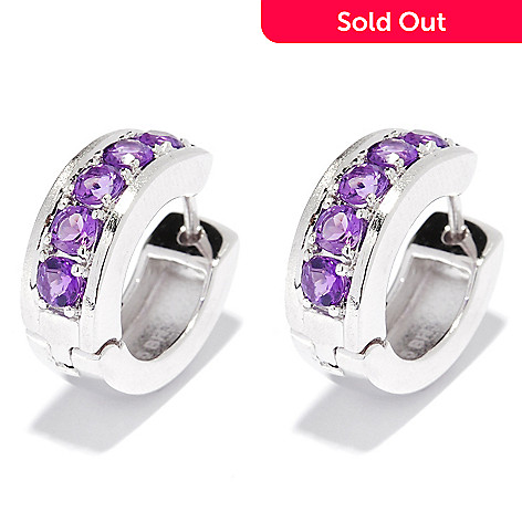 134-992 - EFFY Sterling Silver Round Amethyst Balissima Hoop Earrings