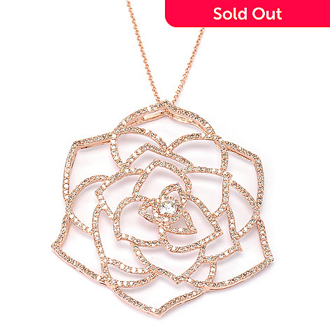 134-996 - Effy 14K Rose Gold 1.91ctw Diamond Flower Pendant w/ 18'' Chain