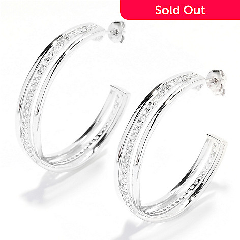 135-084 - Gem Treasures® Sterling Silver 1.5'' 1.50ctw Gemstone Crossover Hoop Earrings