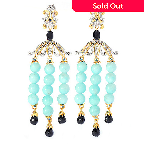 135-182 - Gems en Vogue 3'' Gemstone Bead Chandelier Earrings