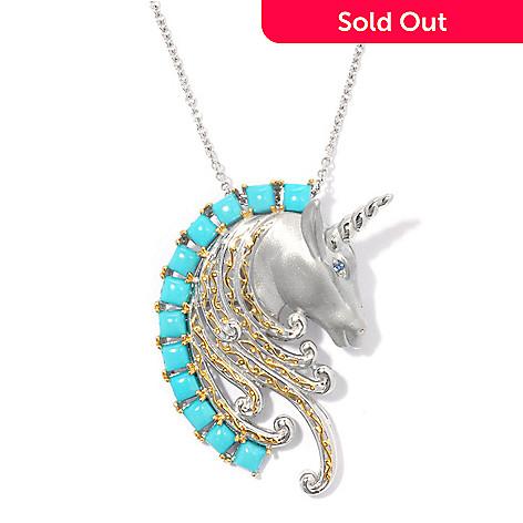 135-209 - Gems en Vogue Sleeping Beauty Turquoise & London Blue Topaz Unicorn Pin / Pendant