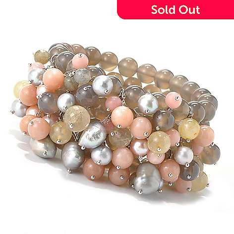 135-224 - Dallas Prince Sterling Silver Cultured Pearl & Multi Gemstone Stretch Bracelet