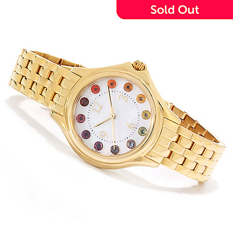 135-228 - NYC II® Women's Multi Gemstone Exotic Rainbow Stainless Steel Bracelet Watch