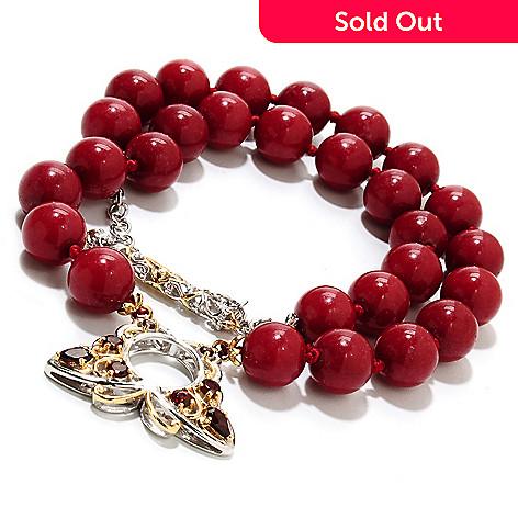 135-230 - Gems en Vogue 8'' 10mm Quartz Bead & Multi Gem Butterfly Two-Strand Toggle Bracelet