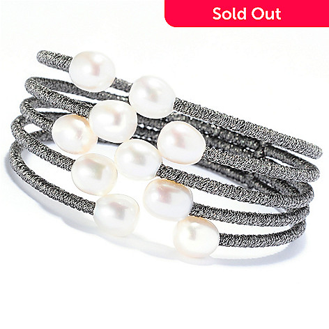 135-238 - 6.75'' 8-9mm White Freshwater Cultured Pearl Staggered Five-Row Bangle Bracelet