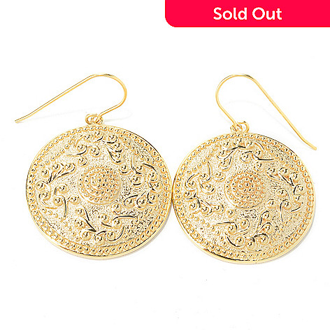 135-248 - Jaipur Bazaar 18K Gold Embraced™ Ornate Textured Beaded Edge Disk Earrings