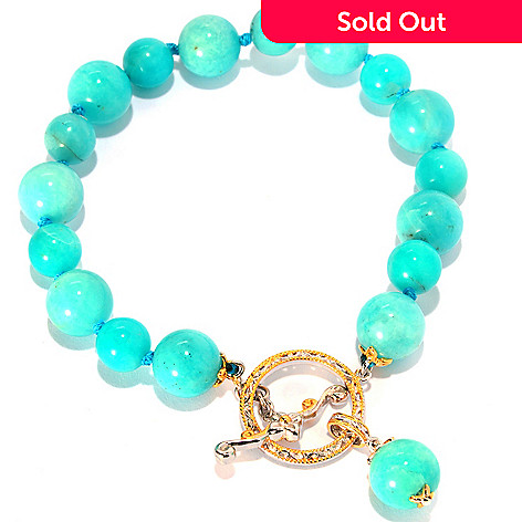 135-261 - Gems en Vogue 8'' 10mm Amazonite Bead Toggle Bracelet