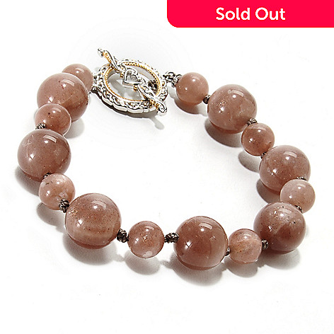 135-264 - Gems en Vogue II 8'' Moonstone Bead Toggle Bracelet