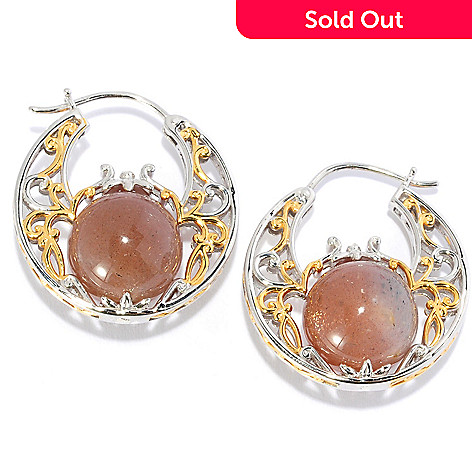 135-265 - Gems en Vogue 1'' 14mm Moonstone Bead Filigree Hoop Earrings