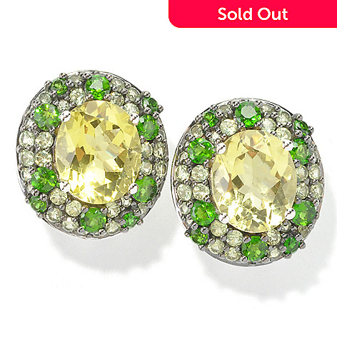 135-269 - NYC II® Oval & Pave Set Multi Gemstone Stud Earrings w/ Omega Backs