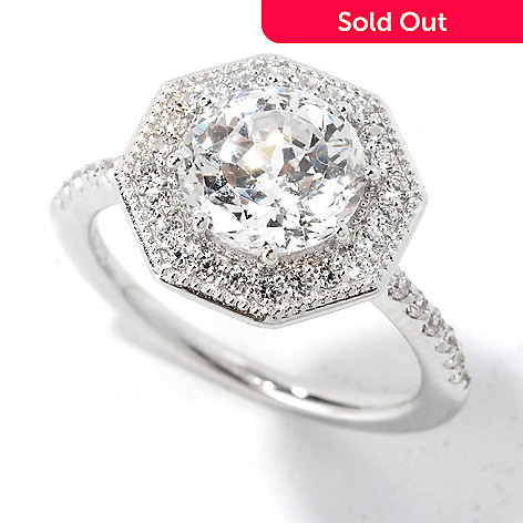 135-271 -  Brilliante® 2.54 DEW 100-Facet Simulated Diamond Octagonal Halo Pave Band Ring