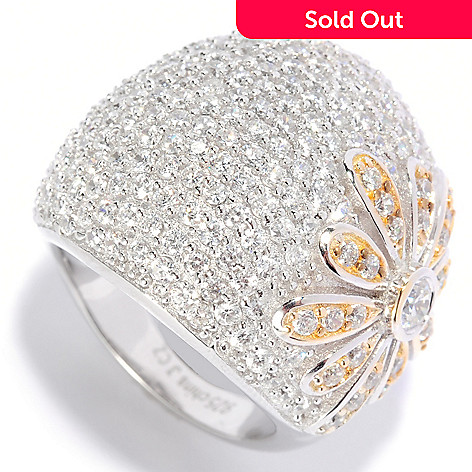 135-275 - Sonia Bitton Two-tone 2.98 DEW Pave Set Simulated Diamond Domed Flower Ring