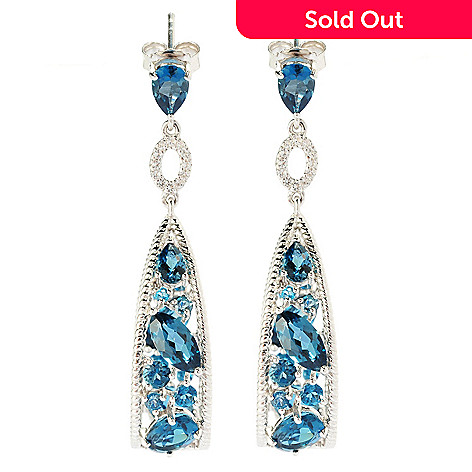 135-282 - NYC II 1.75'' Gemstone & White Topaz Inside-Out Teardrop Earrings