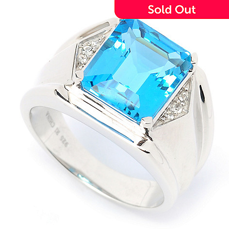135-283 - Gem Treasures® Men's Sterling Silver 6.44ctw Swiss Blue Topaz & White Topaz Ring
