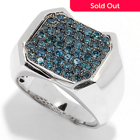 135-284 - Gem Treasures® Men's Sterling Silver 1.41ctw Blue Diamond Flat Top Ring
