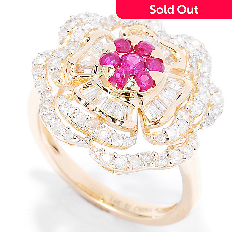 135-285 - Gem Treasures® 14K Gold 2.85ctw Ruby & Diamond Multi Layer Flower Ring