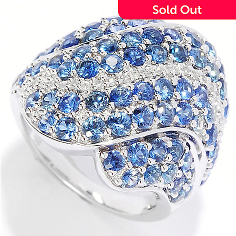135-286 - Gem Treasures® Sterling Silver 4.12ctw Sapphire & White Zircon Multi Wave Ring