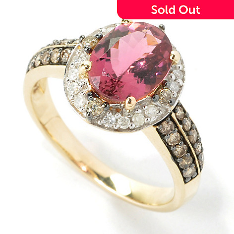135-287 - Gem Treasures® 14K Gold 1.66ctw Pink Tourmaline & Champagne & White Diamond Halo Ring