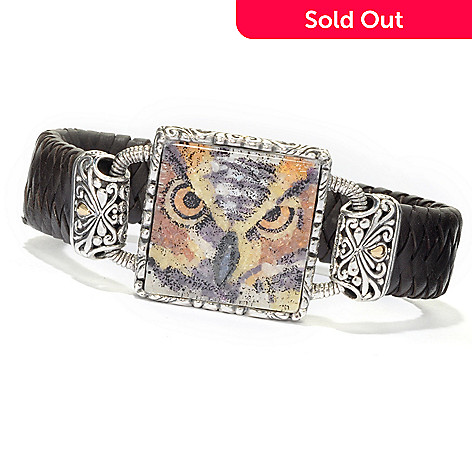 135-290 - Artisan Silver by Samuel B. Crushed Gem Owl Braided Leather Bracelet