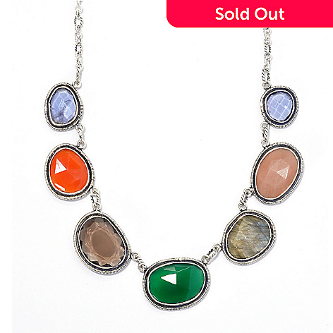 135-300 - Artisan Silver by Samuel B. 18'' 24.61ctw Abstract Multi Gemstone Station Necklace