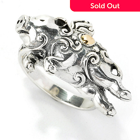 135-310 - Artisan Silver by Samuel B. Textured Flying Pig Ring
