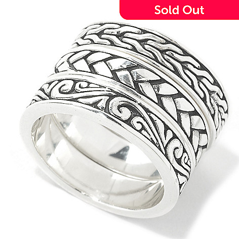 135-311 - Artisan Silver by Samuel B. Set of Three Multi Textured Stack Band Rings
