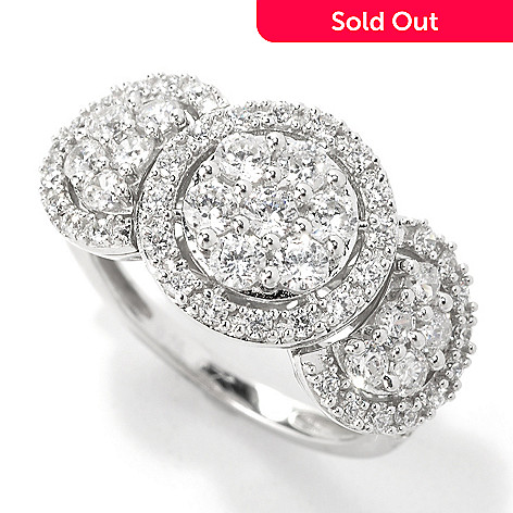 135-314 - Brilliante® Platinum Embraced™ 1.35 DEW Simulated Diamond Triple Flower Halo Ring
