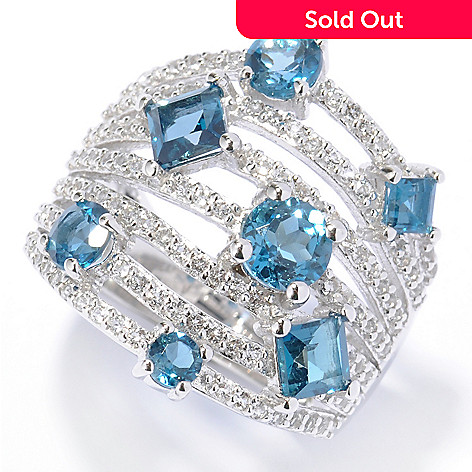 135-323 - Gem Insider Sterling Silver 2.26ctw White & London Blue Topaz Multi Row Ring
