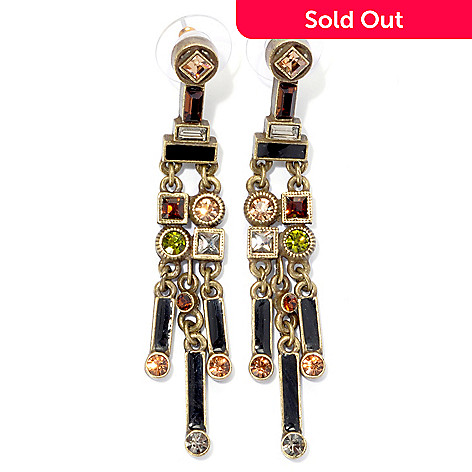 135-351 - Sweet Romance™ 2.5'' Multi Color Crystal & Enamel Art Deco Inspired Dangle Earrings
