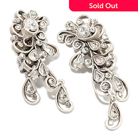 135-358 - Sweet Romance™ 2'' Crystal Jazz Age Inspired Clip-on Drop Earrings