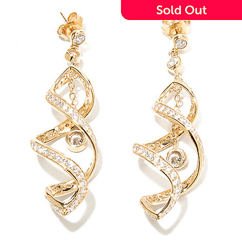 135-367 - Sonia Bitton 2'' 3.54 DEW Simulated Diamond Double Twirl Dangle Earrings