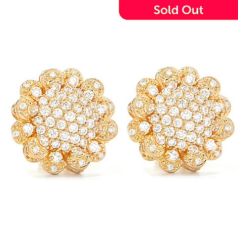 135-370 - Sonia Bitton 3.14 DEW Simulated Diamond Button Earrings w/ Omega Backs