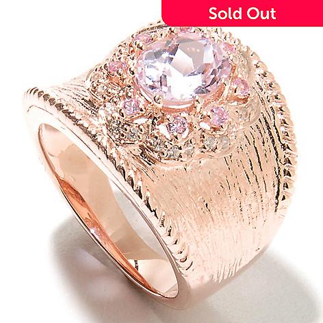 135-372 - NYC II® 1.93ctw Kunzite, Pink Sapphire & White Zircon Textured Band Ring