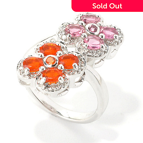 135-381 - NYC II Exotic Gemstone, Pink Tourmaline & White Zircon Flower Bypass Ring