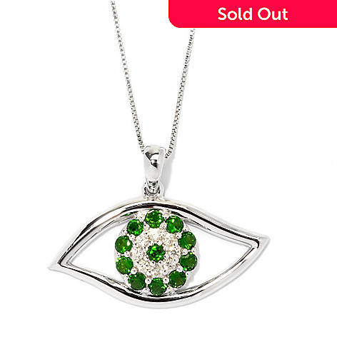 135-383 - NYC II 1.37ctw Chrome Diopside & White Zircon Evil Eye Pendant