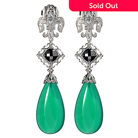 135-385 - Dallas Prince Sterling Silver 2.5'' Gemstone Interchangeable Drop Earrings