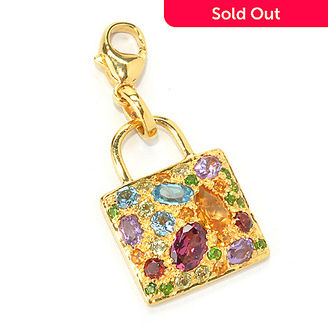 135-397 - NYC II™ 2.64ctw Multi Gemstone Shopping Bag Charm