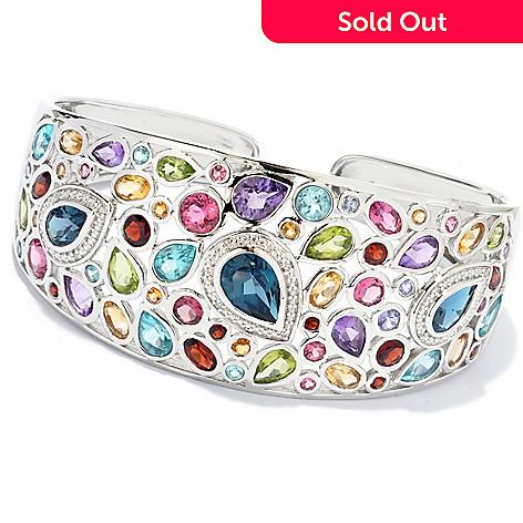 135-400 - NYC II™ 6.5'' 13.78ctw Multi Gemstone Hinged Cuff Bracelet
