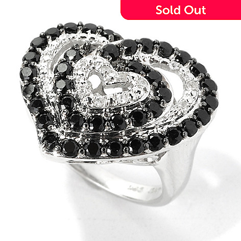 135-402 - NYC II® 1.61ctw Black Spinel & White Zircon Multi Heart Ring