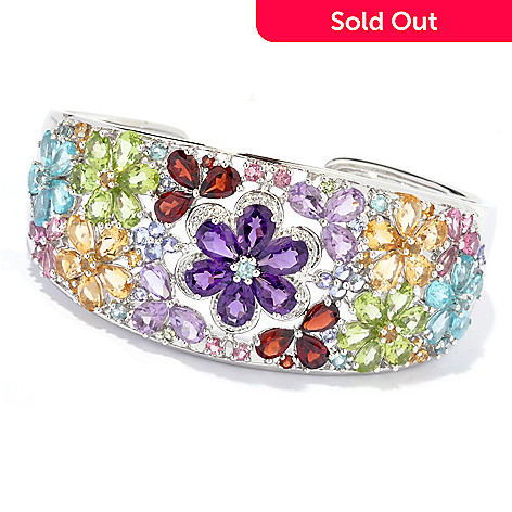 135-404 - NYC II 7'' 20.87ctw Multi Gemstone Flower Hinged Cuff Bracelet