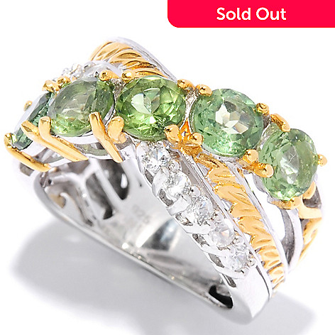 135-420 - Gems en Vogue 2.46ctw Green Apatite & White Zircon Twisted Band Ring