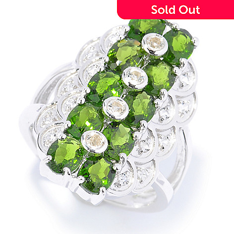 135-427 - Gem Treasures® Sterling Silver White Topaz & Fancy Color Gem Scalloped Ring