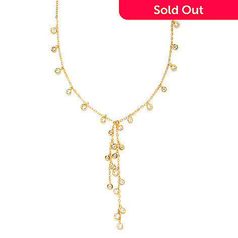 135-492 - Sonia Bitton 16'' 2.11 DEW Simulated Diamond Station Drop Necklace