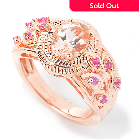 135-512 - NYC II® 1.13ctw Morganite & Pink Sapphire Etruscan Vine Band Ring