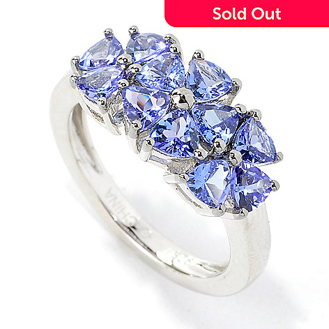 135-514 - NYC II™ 1.54ctw Trillion Tanzanite Three-Flower Band Ring